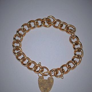 Antique Heart Padlock Rose Gold Bracelet English 9 ct Rose Gold London