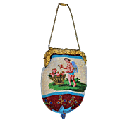"""Georgian Sable Beaded French Cherub Purse with message: """"I Look For The Most Faithful""""  Necklace style chain with Clasp"""