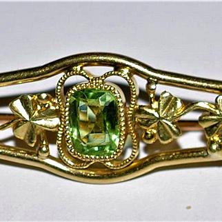 Antique  Edwardian 14 KT Gold  Peridot  Seedpearl Cloverleaf   Brooch