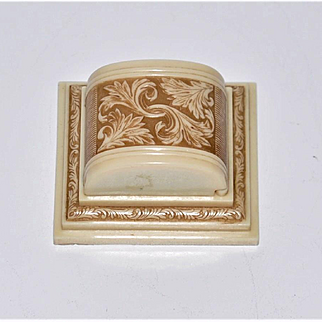 Antique American Carved Two Tone Celluloid Ring Box  Victoria B.C.