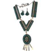 Vintage Zuni  Native American Signed JHN STERLING  Needlepoint Necklace and Earrings  Demi Parure