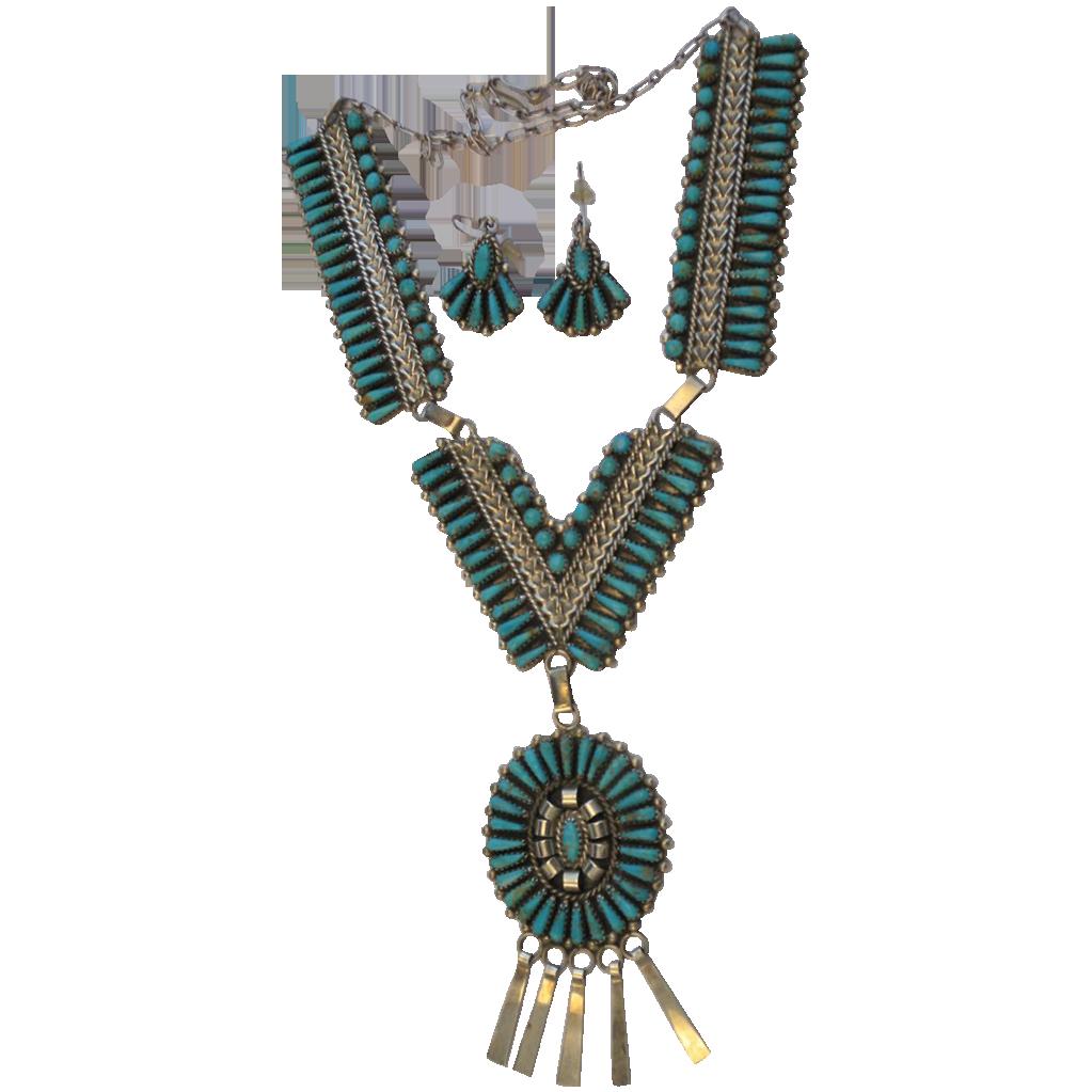 Vintage Zuni Native American Signed JHN STERLING
