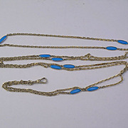 Antique French Hallmarked Gilded Silver Blue Opaline Glass Muff Chain