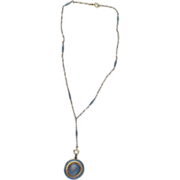 Antique American Carter& Gough Guilloche Blue Enamel 14kt gold Locket Pendant and chain
