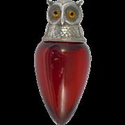 Antique Samson Mordan Figural OwL Perfume Bottle 1886 Ruby Glass Sterling Silver