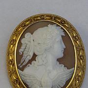 Antique 14kt gold Cameo Eos (Dawn) Dove Elaborate 1800's