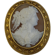Antique 14kt gold Cameo Eos (Dawn) Dove Elaborate 1800's