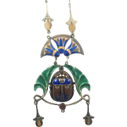 Arts & Crafts Sterling Silver Egyptian Enamel Scarab Necklace