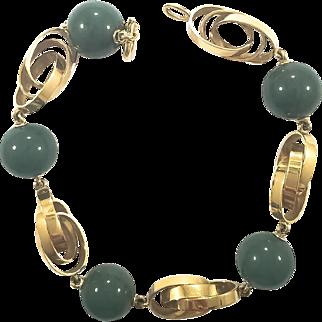 18K Bracelet Of  Decorative YG Loops & Green Onyx Beads