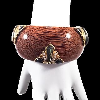 18K YG Wooden Bangle Bracelet with Abalone Shell Decoration