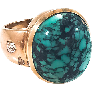 18k Arts & Crafts Unisex Turquoise & Diamond Ring