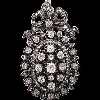 French 18K & Silver Rose Cut Diamond Pendant