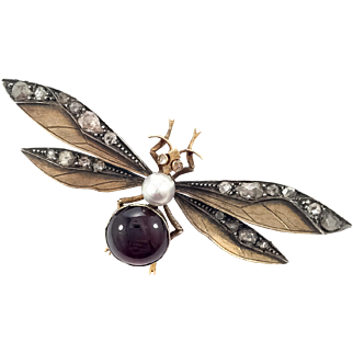 18K Garnet & Diamond Victorian Wasp Pin