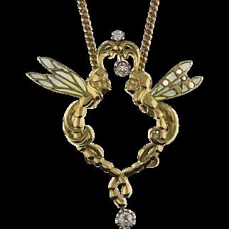 18K French Art Nouveau Plique Fairy Pendant
