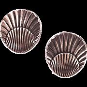 George Jenson Silver Shell Clip Earrings