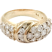 18K Yellow Gold Pave Diamond Crossover Ring