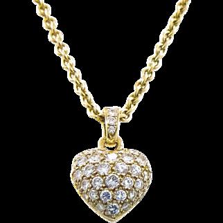 Cartier Paris 18K Pave Diamond Heart Pendant in Original Box