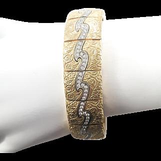 18k Two Tone  Lighting Bolt Diamond Designer Bracelet