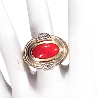 18K Two Tone Coral & Diamond Dome RIng