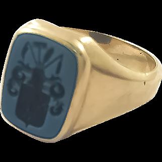 14K Blue Black Onyx Crest Ring