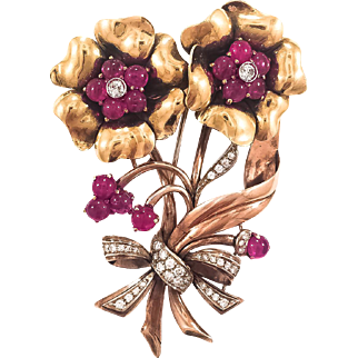 18K  Large Retro Ruby & Diamond Flower Bouquet