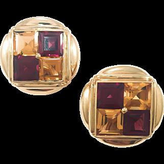 18k Citrine & Garnet Checker Board Earrings