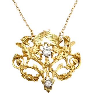 Victorian 18K YG & Griffin Pin/Pendant with Diamonds