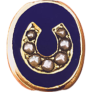 14K Victorian Slide With Blue Enamel and Seed Pearl Horseshoe