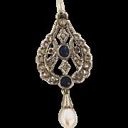 Platinum Edwardian Diamond Encrusted Sapphire & Pearl Pendant