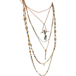 French Victorian 18K Long Chain with Moonstones