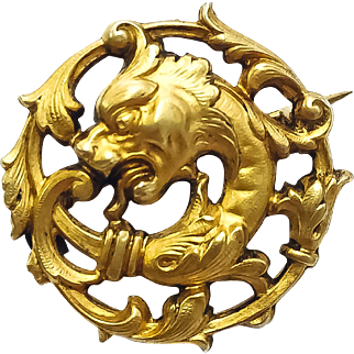 Classic Victorian Griffin Circle Pin in Silver Gilt