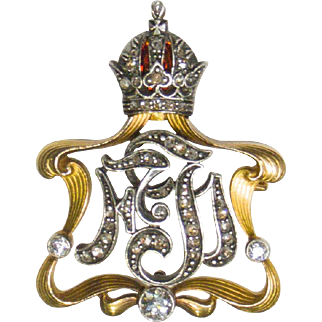 14K Victorian Royal Diamond Enamel Crown Pin