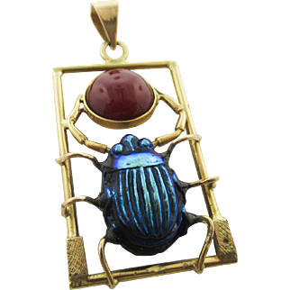 18K Tiffany Scarab on a Egyptian Revival Pendant