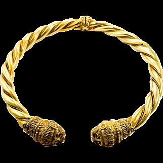 18K Signed Adler Lion Motif Collar Necklace