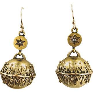14K Yellow Gold Victorian Earrings with Etruscan Granulated Ball Drops.