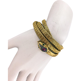 18K French Woven Gold Victorian Snake Bracelet with Ruby Head