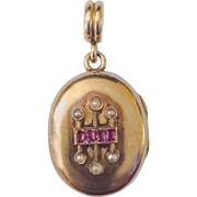 French 18k Victorian Ruby and Pearl Locket