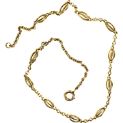"French ""18 Karat Gold"" Victorian Link Necklace"