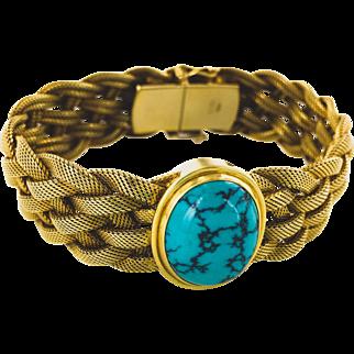 14K Braided Mesh Bracelet with Turquoise Center