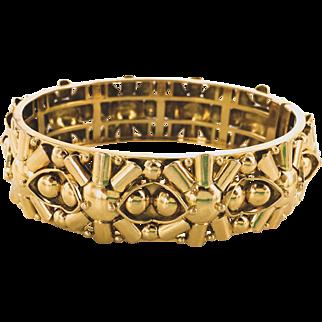18K Meister Wish Bone Motif Wide Bangle Bracelet