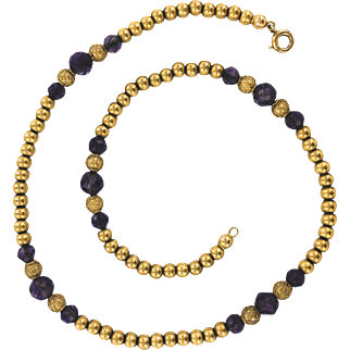 14K Victorian Gold Bead Necklace with Amethyst  and Etruscan Beads