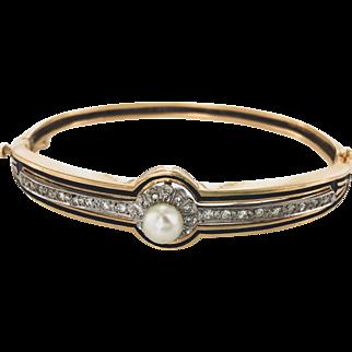 14K Victorian Style Diamond and Black Enamel Bangle Bracelet
