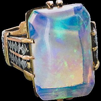 Arts & Crafts Opal Ring Platinumand 14K Mounting