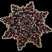 Gold Filled Victorian Bohemian Garnet Star Brooch
