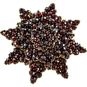 Gold Filled Victorian Bohemian Garnet Star Brooch