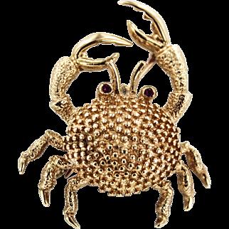 14K Estate Crab Brooch
