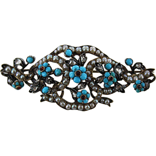 18K-Silver Victorian Turquoise and Pearl Flower  Pin Pendant