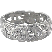 Art Deco Platinum Flower Motif Band Ring
