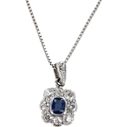 Platinum Edwardian Sapphire and Diamond Cluster Pendant with 18K Chain