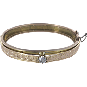 18K Victorian Engraved Bangle Bracelet with Diamond Center